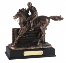 BRONZE PLATED GALLOPING HORSE AND RIDER